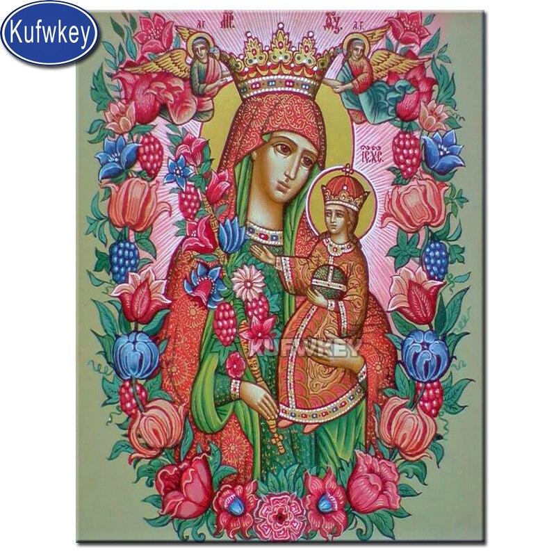Mosaico religioso de diamantes de flores de la Virgen María y el niño, icono religioso cristiano, icono ortodoxo, pintura sagrada, diamantes de imitación bordados