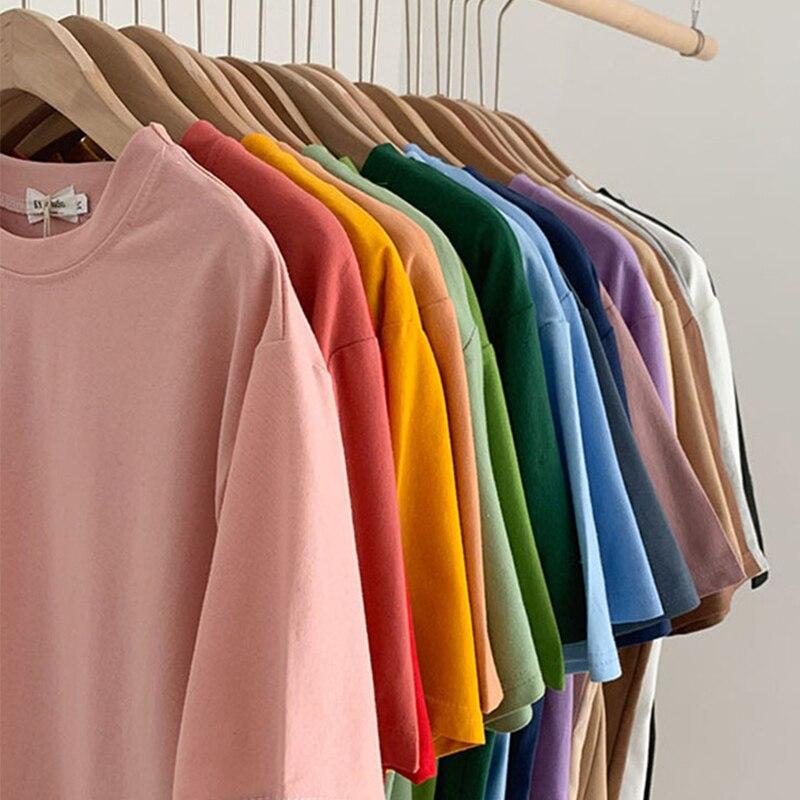 Kawaii rosa frauen T-shirt Sommer Koreanische Harajuku vintage lose Oansatz T-shirt Mode süße top 100% baumwolle einfarbig T-shirt
