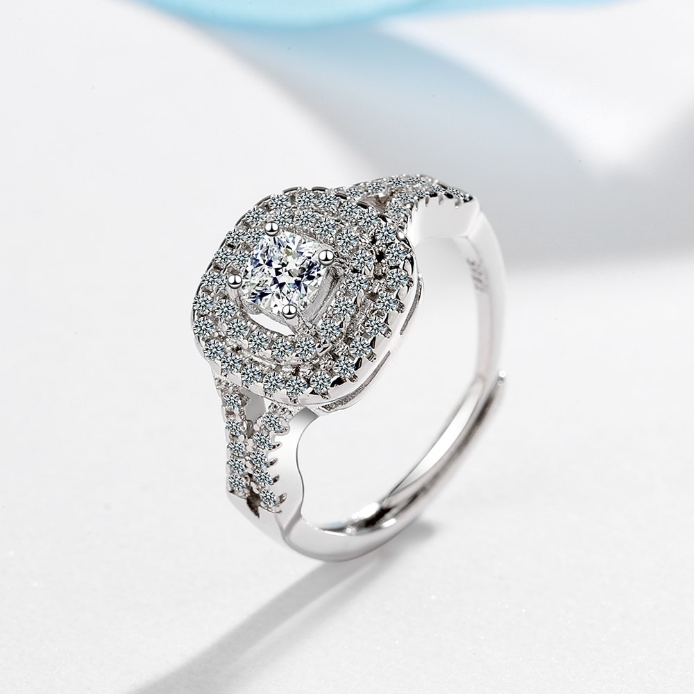925 Sterling Silver African Jewelry Ring Women Square White Diamond Bizuteria Silver 925 Jewelry Moissanite Wedding Band Rings