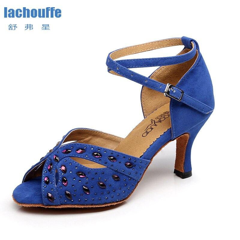 Señoras zapatos de baile latino Negro Azul mujer rhinestone zapatos de baile para niños salón de baile Salsa-zapatos mujeres sandalias de fondo suave