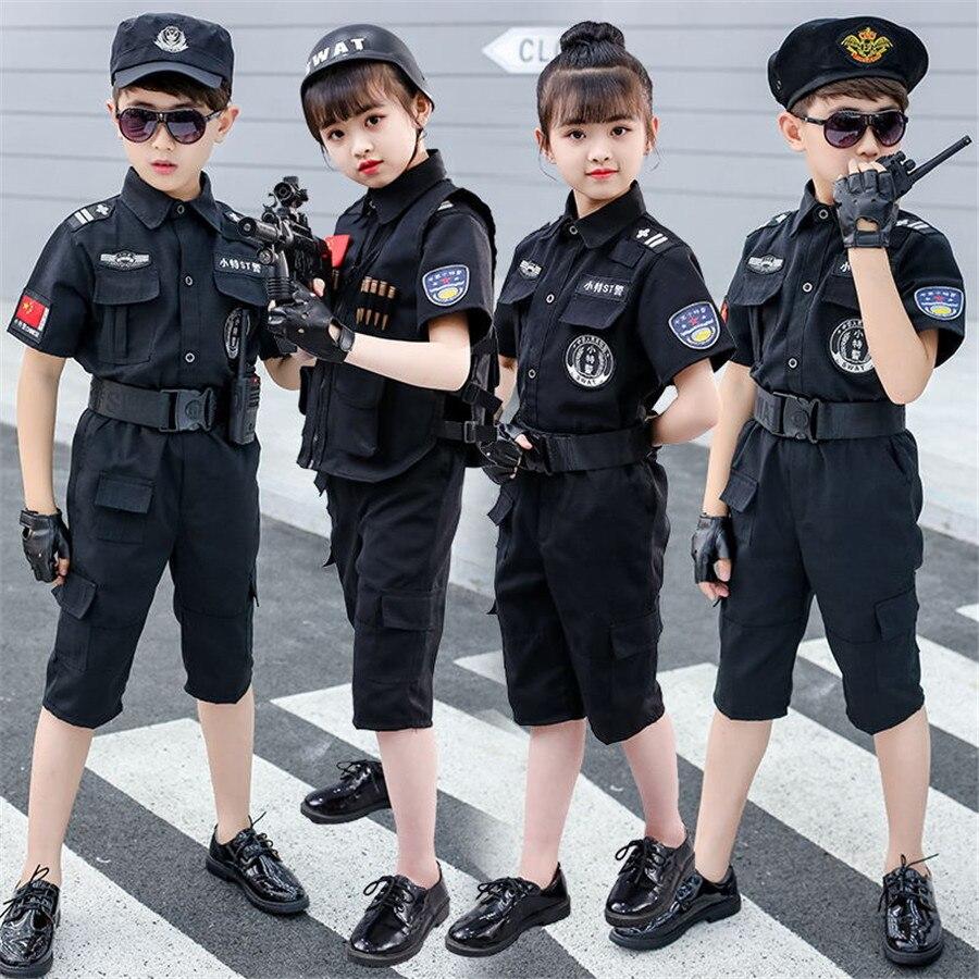 Uniformes de policía de Halloween Disfraces SWAT niños Cosplay traje especial policía fiesta ropa conjunto de tácticas de combate traje para niños