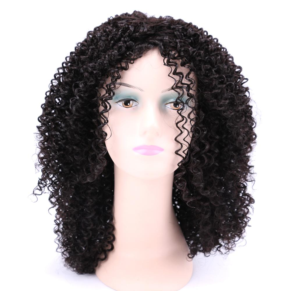 Afro Kinky Curly Hair Wig Natural Black 18 Inches High Temperature Synthetic Hair Wigs for Women