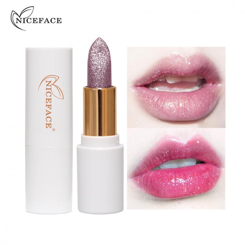 NICEFACE 4 colores de larga duración impermeable hidratante lápiz labial desnudo nacarado Sexy decoloración lápiz labial TSLM1