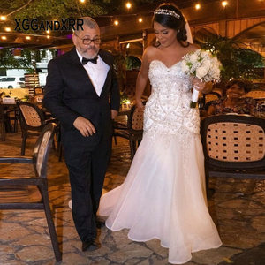 Luxury Mermaid Wedding Dress 2020 Sweetheart Backless Beading Crystal Sweep Train Black Bride Plus Size Custom Made White Formal