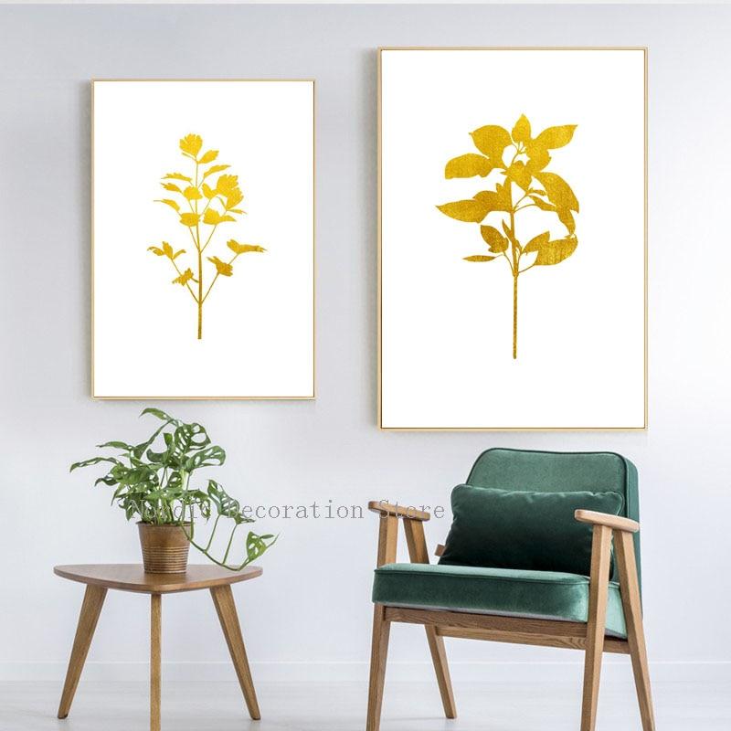 Pósteres e impresiones abstractas de hoja de planta dorada nórdica cuadro sobre lienzo para pared cuadros de pared de dos piezas para sala de estar sin marco