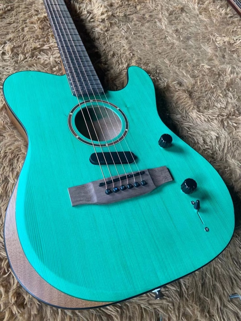 Active electric acoustic guitar TL style hollow body 39 inch acoustic guitar solid top 6 strings folk guitar with armrest enlarge