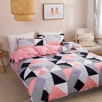 bedding set geometry duvet cover for home twin size nordic bed 150 double plaid pillowcase king single textiles bedroom pink