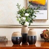 vintage flower pot porcelain glazed brown tabletop vase