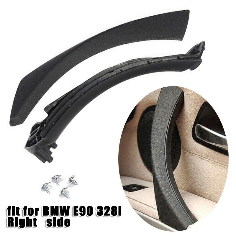 1 Juego de manija de Panel de puerta interior cubierta embellecedora de tirar frente de ABS derecho anti-incrustante negro anti-rayado para BMW E90 E91 316 318 320