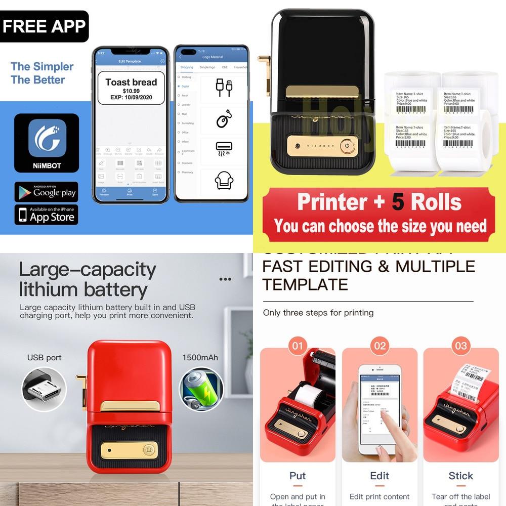 NiiMBOT B21 طابعة حرارية للملصقات سعر المجوهرات شريط القوة طابعة رموز للهاتف المحمول أندرويد iOS الهاتف