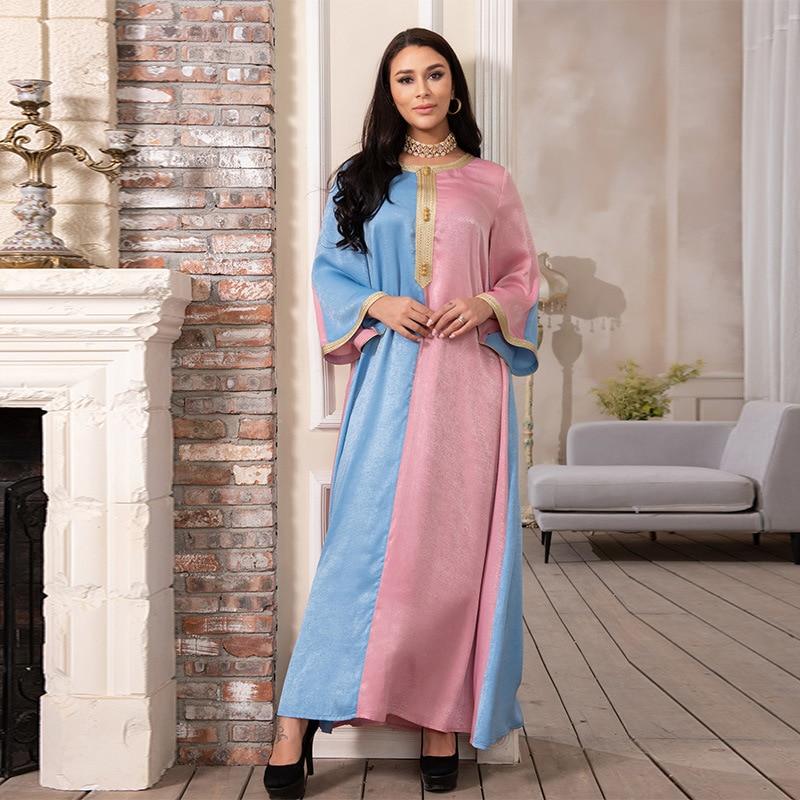 india Muslim Dress Women Abayas Embrodery Dubai Turkish Robe  Kaftan Ethnic Long Sleeve Wild Dresses Maxi Abaya Islamic Clothing