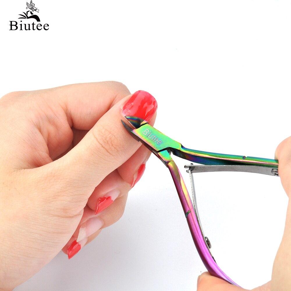 Biutee 10x5cm Arco Iris cortador de cutículas de uñas cortauñas dedo de pie tijeras para cutículas removedor de piel muerta manicura de uñas de arte