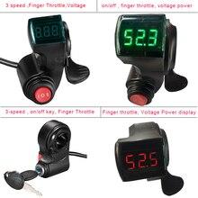 E Bike Thumb Throttle 12V/24V/36V/48V/60V/72V LCD Digital Battery Voltage Display Electric Scooter Finger Throttle Multifunction