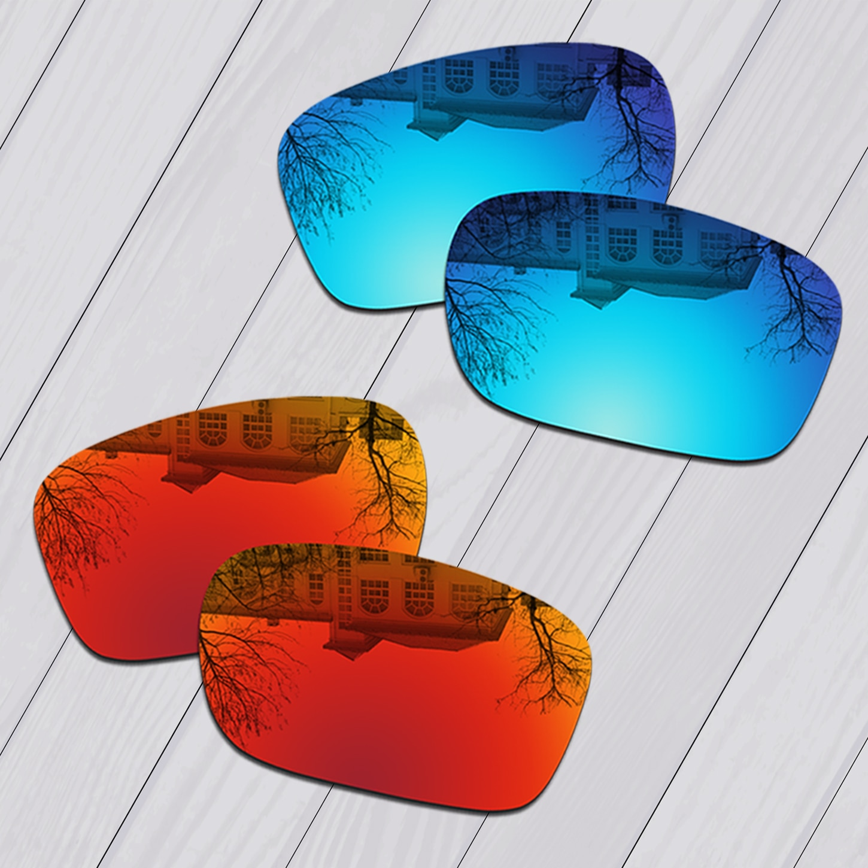 E.O.S 2 أزواج الجليد الأزرق و النار الأحمر مرآة الاستقطاب استبدال العدسات ل أوكلي Chainlink OO9247 النظارات الشمسية