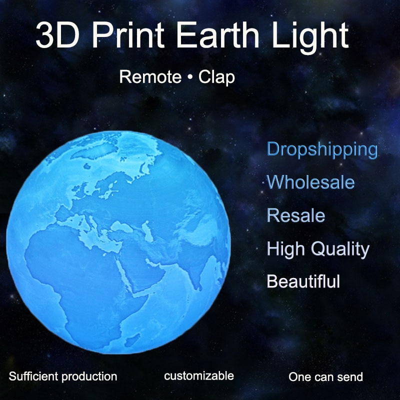 3D Print Earth Lamp Touch Remote Clap Usb Led Night Light Moon Lamparas Table Lampa Home Decor Birth