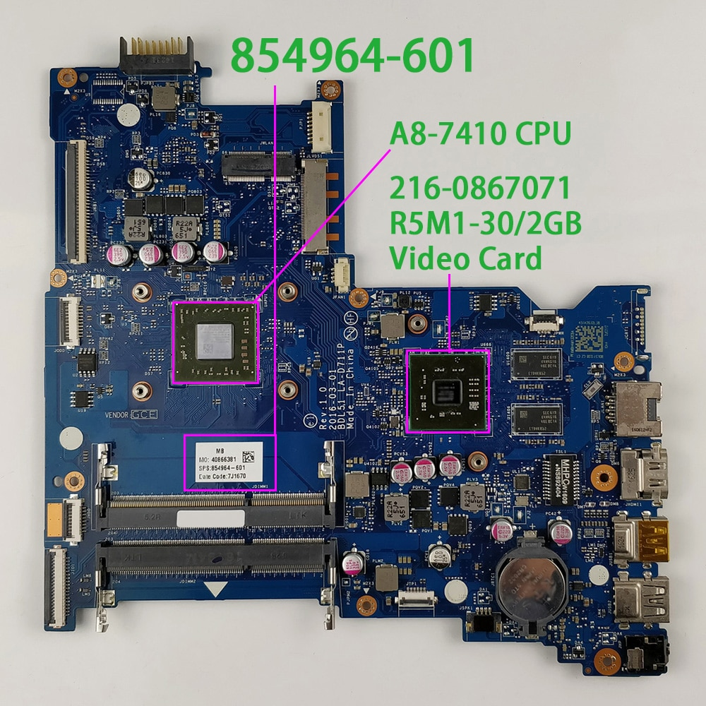 Genuine 854964-601 854964-001 w R5M1-30/2GB Graphics w A8-7410 CPU Laptop Motherboard for HP Envy 15 15-BA Series NoteBook PC
