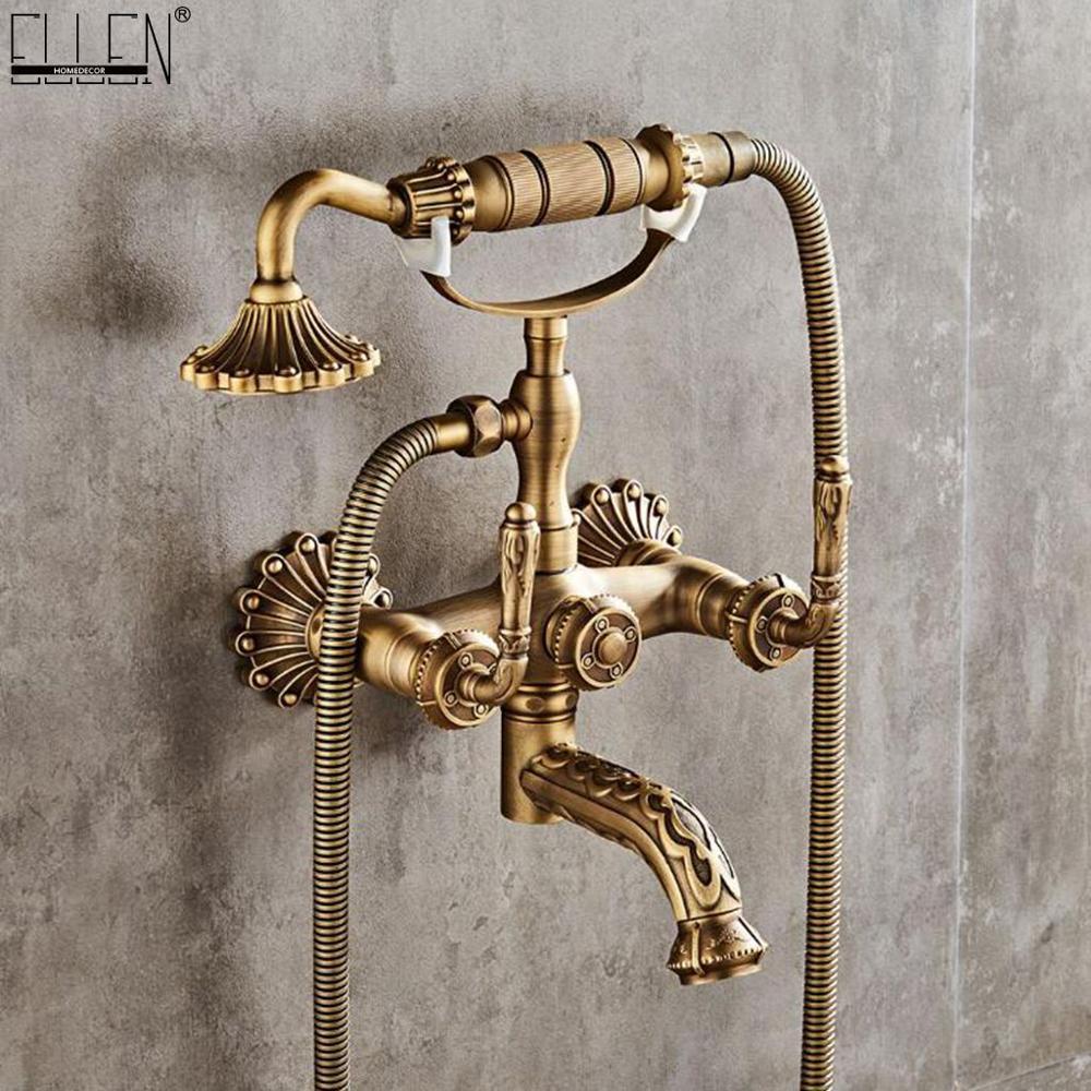 Grifo de baño de bronce antiguo mezclador de agua fría caliente grifería de pared para baño tallado grifo de ducha de bronce de lujo ELM722