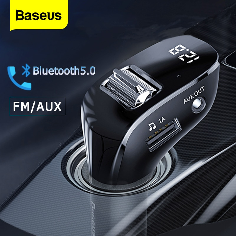 Baseus FM الارسال بلوتوث متوافق 5.0 راديو FM المغير المزدوج USB شاحن سيارة يدوي لاسلكي Aux الصوت MP3 لاعب