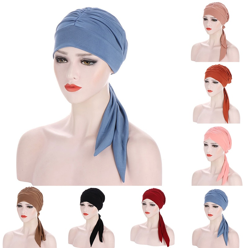 Muslim Women Stretch Solid Wrinkle Turban Hat Cancer Chemo Beanies Caps Pre-Tied Scarf Headwear Headwrap Plated Hair Accessories new women stretch solid ruffle turban hat scarf knotted chemo beanie caps headwrap for cancer chemotherapy hair loss accessories