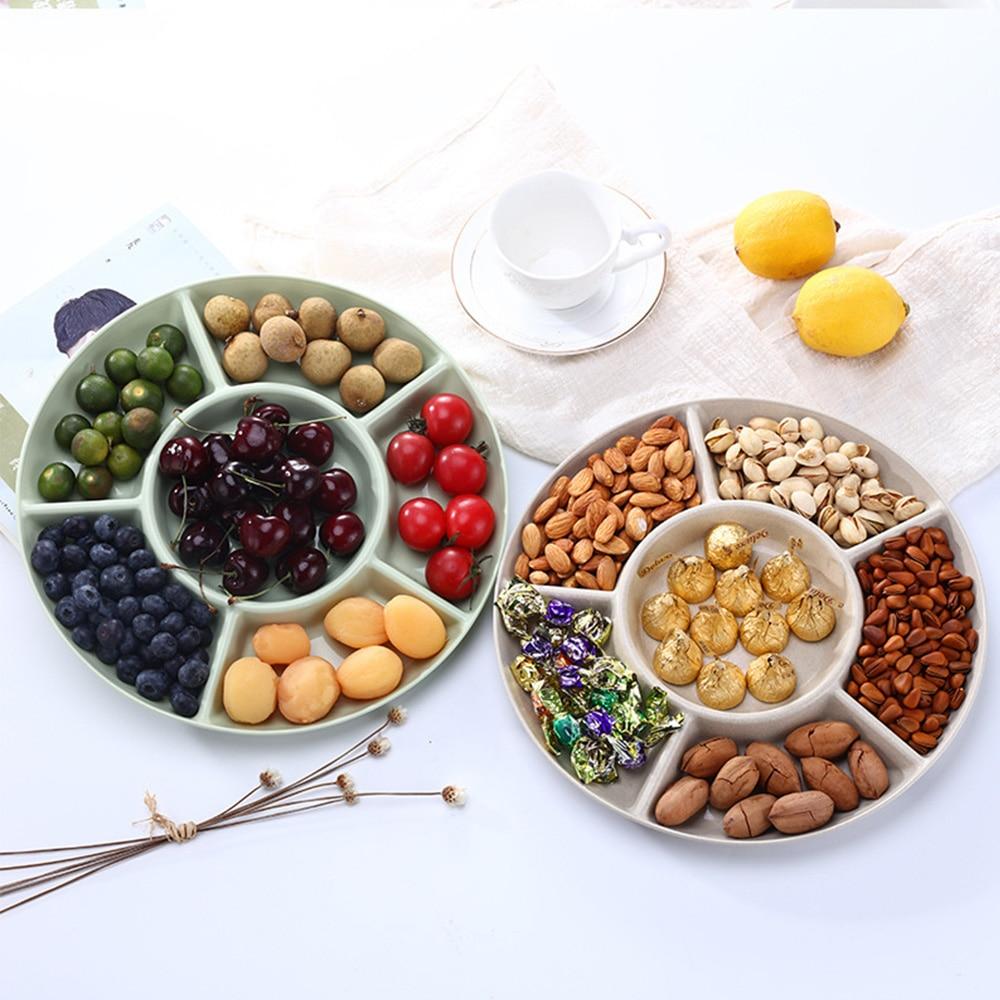 Bandeja de almacenamiento de alimentos con 6 compartimentos, plato de aperitivos de frutas secas, plato de servicio de aperitivo para fiesta, pastel, frutos secos, 1 unidad