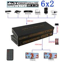 6x2 HDMI Matrix PIP 1,4 V 4K * 2K 3D Audio EDID/ARC/Audio extractor 5,1 CH schalter splitter 6 eingang 2 ausgang konverter für HDTV 06M1