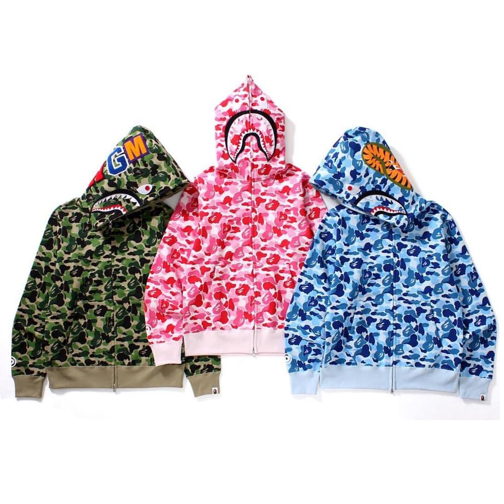 21ss Hoodies NEW Designer Men Women BAPE pink Camouflage Jacket Mens High Quality Casual Shark embroidery Sweatshirts