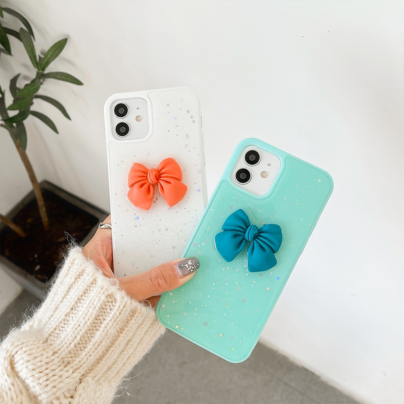 Shining sequins Color edge bowknot Phone case For iphone 12 11 pro max 12mini XR XS MAX X 7 8 Plus SE2 soft back cover girl gift enlarge