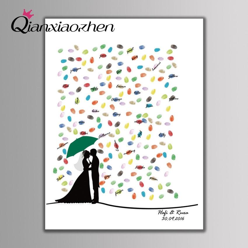 Qianxiaozhen-libro De visitas De Boda con huella dactilar, libro De visitas, decoración...