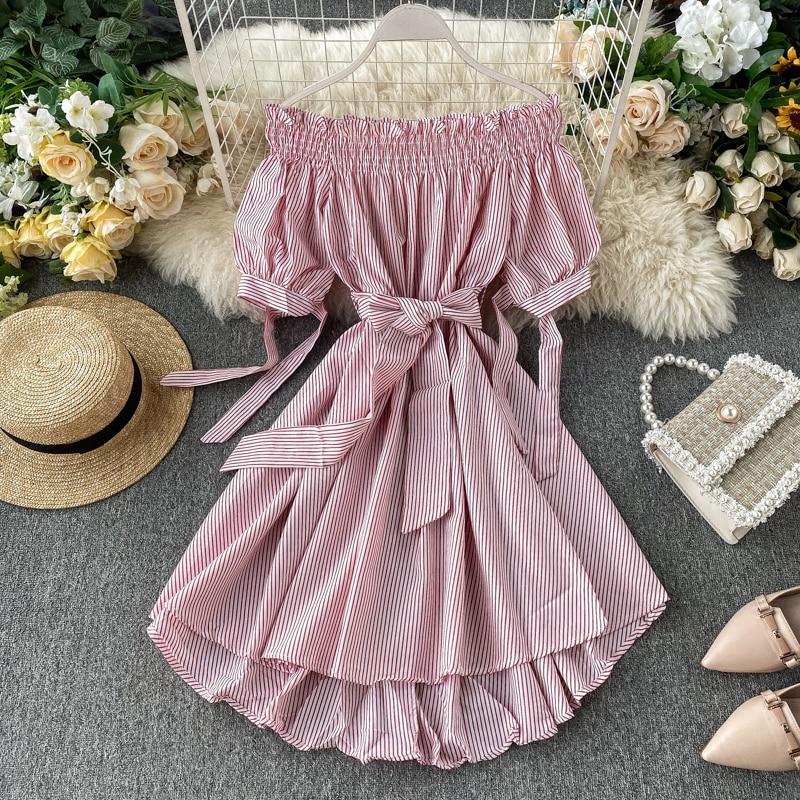 Women Ins Holiday Slash Neck Short Sleeve Lace-up High Waist Slimming Retro Stripes Irregular Dress Vestidos K193