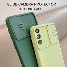 슬라이드 카메라 렌즈 수호자 액체 실리콘 전화 케이스 삼성 갤럭시 S21 S20 Fe 플러스 참고 20 울트라 5g S 21 소프트 뒷면 커버