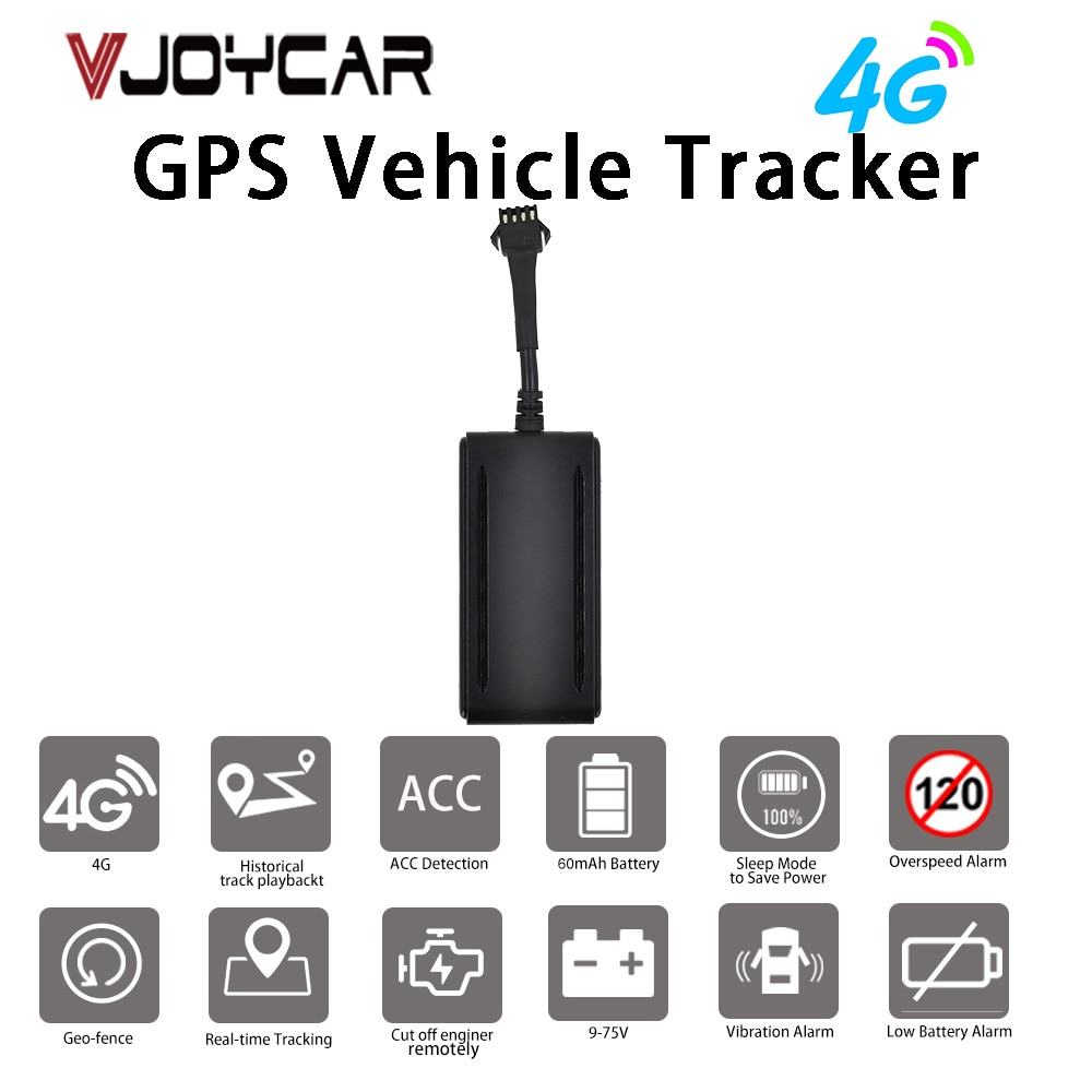 Real 4G Car GPS Tracker 9-95V Working Range Motorcycle GPS Locator Tracking Device Cut Off Oil Engine Geo-fence Free APP Track