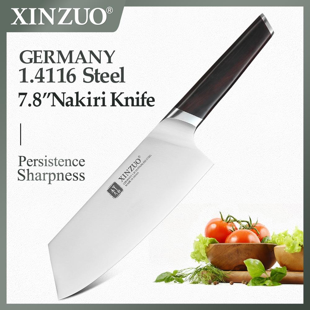XINZUO 7.8 ''سكين المطبخ الفولاذ المقاوم للصدأ DIN 1.4116 Nakirir السكاكين عالية الجودة جديد الخضار تقطيع اللحوم سكين الأبنوس مقبض