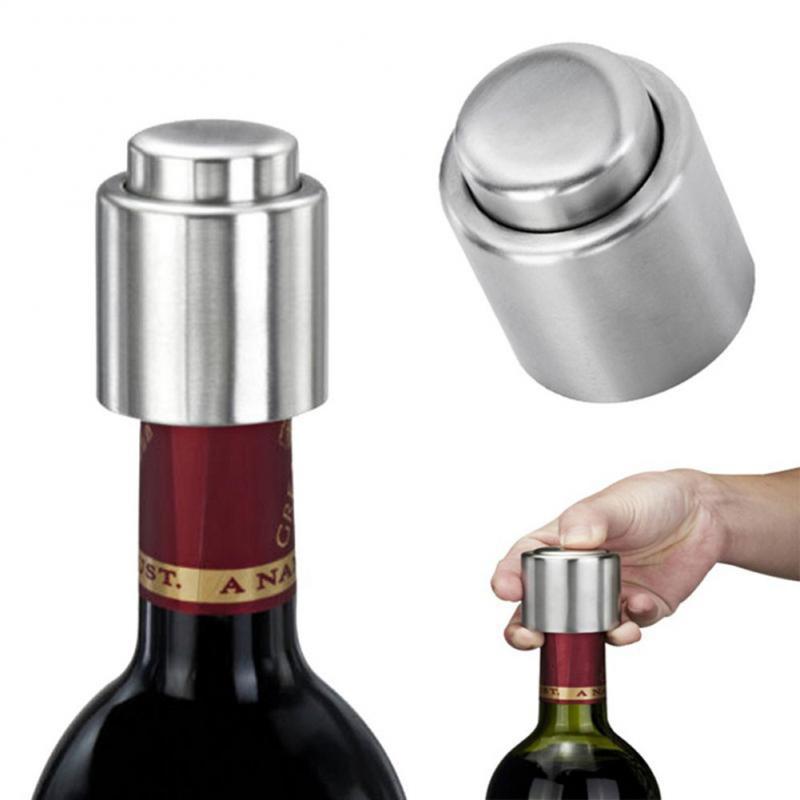 1 Uds. Tapón de botella de vino al vacío de acero inoxidable plateado tapón hermético sellado de almacenamiento tapón hermético para licor para tapa bomba selladora de sellado