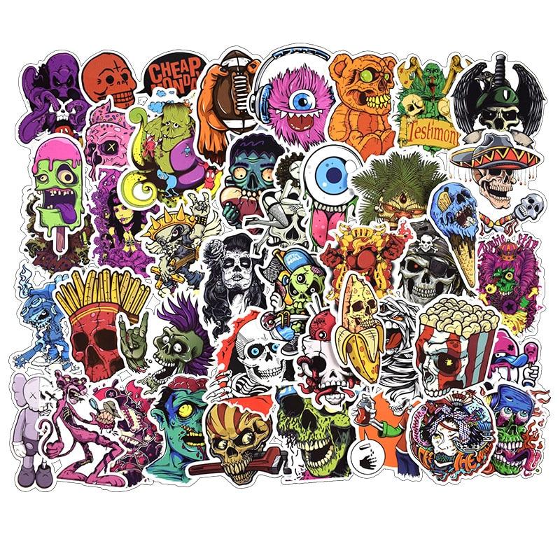 50 pcs Mixed Horror Skeleton Sticker Graffiti Dark Cool Stickers for DIY Luggage Laptop Helmet Luggage Skateboard Stickers