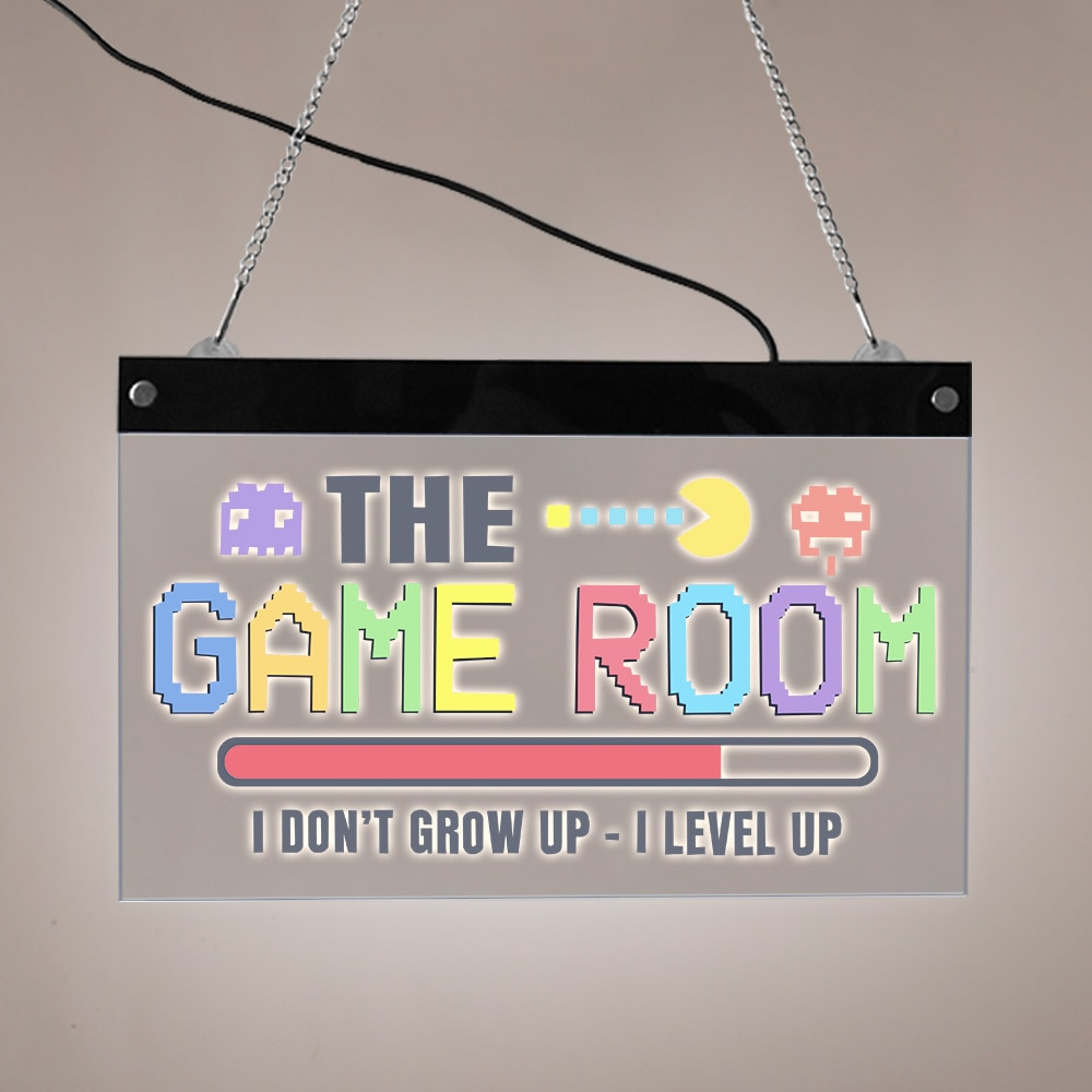 I Don't Grow Up I Lever Up The Game Room LED Lighted Wall Sign Pixel Art Electronic Lighted Signs Gamers LED Illuminated Display