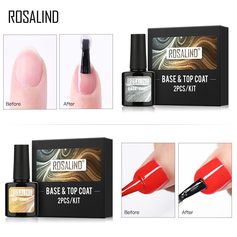 ROSALIND Kit de Base y capa superior de 10ml Gel brillante para manicura Gel esmalte de uñas remojo de la capa BASE superior para Diseño de Arte de uñas