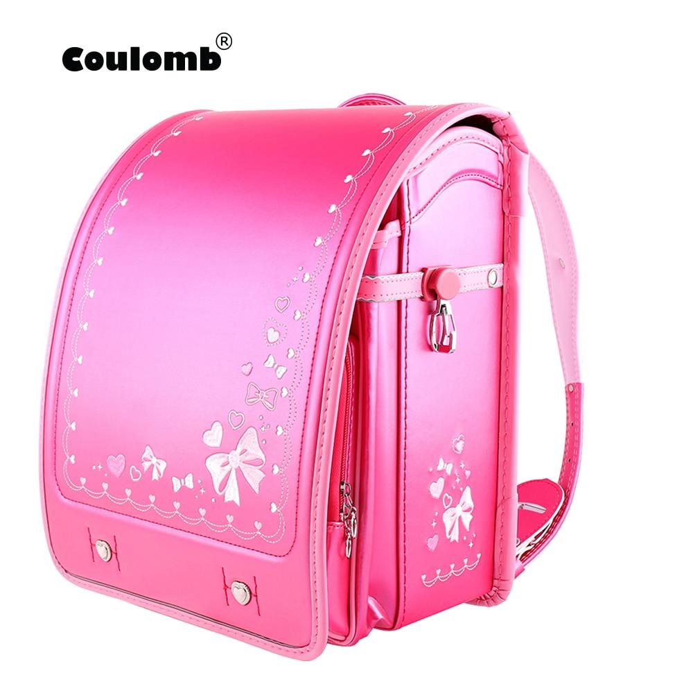 Coulomb-حقيبة ظهر لتقويم العظام للأطفال ، حقيبة مدرسية ، حقيبة كتب يابانية لطيفة مع ربطة عنق ، للبنات