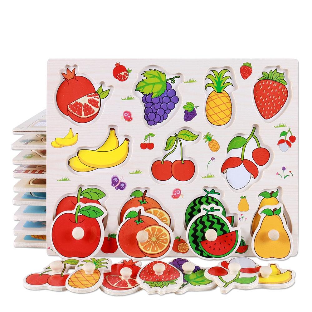 Rompecabezas de madera, juguete de mano agarrar rompecabezas de madera de juguete niños frutas/vegetales de Educación de aprendizaje juguetes bebé juguetes educativos para edades tempranas Niño