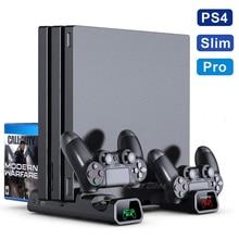 PS4/ PS4 Pro/ PS4 тонкая консоль вертикальная подставка 2 контроллера зарядная док станция 2 охлаждающий вентилятор 10 игр хранилище для Sony Playstation 4