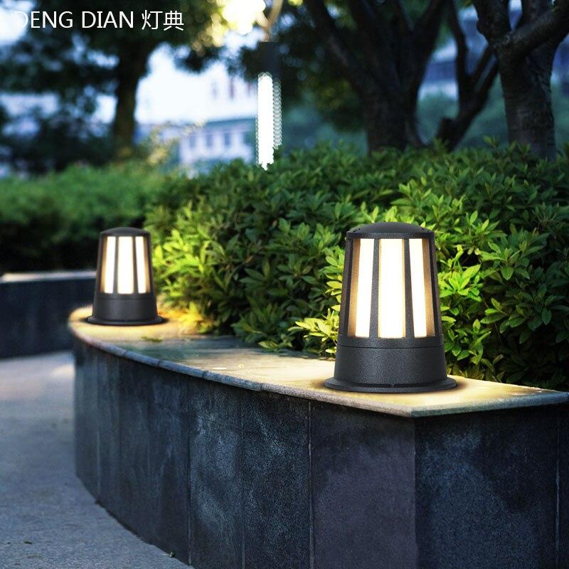 Уличный алюминиевый ландшафтный светильник ing E27 Водонепроницаемый светодиодный светильник на столбе лампы для газонов светильник на столбиках для двора виллы сада 220-240 В