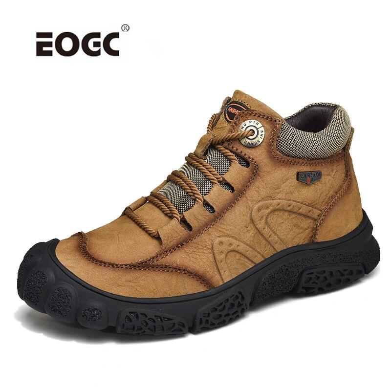 حجم كبير جلد أصلي للرجال أحذية أحذية الكبار جودة مقاوم للماء أفخم الكاحل الثلوج الأحذية مقاوم للماء الخريف الشتاء الأحذية