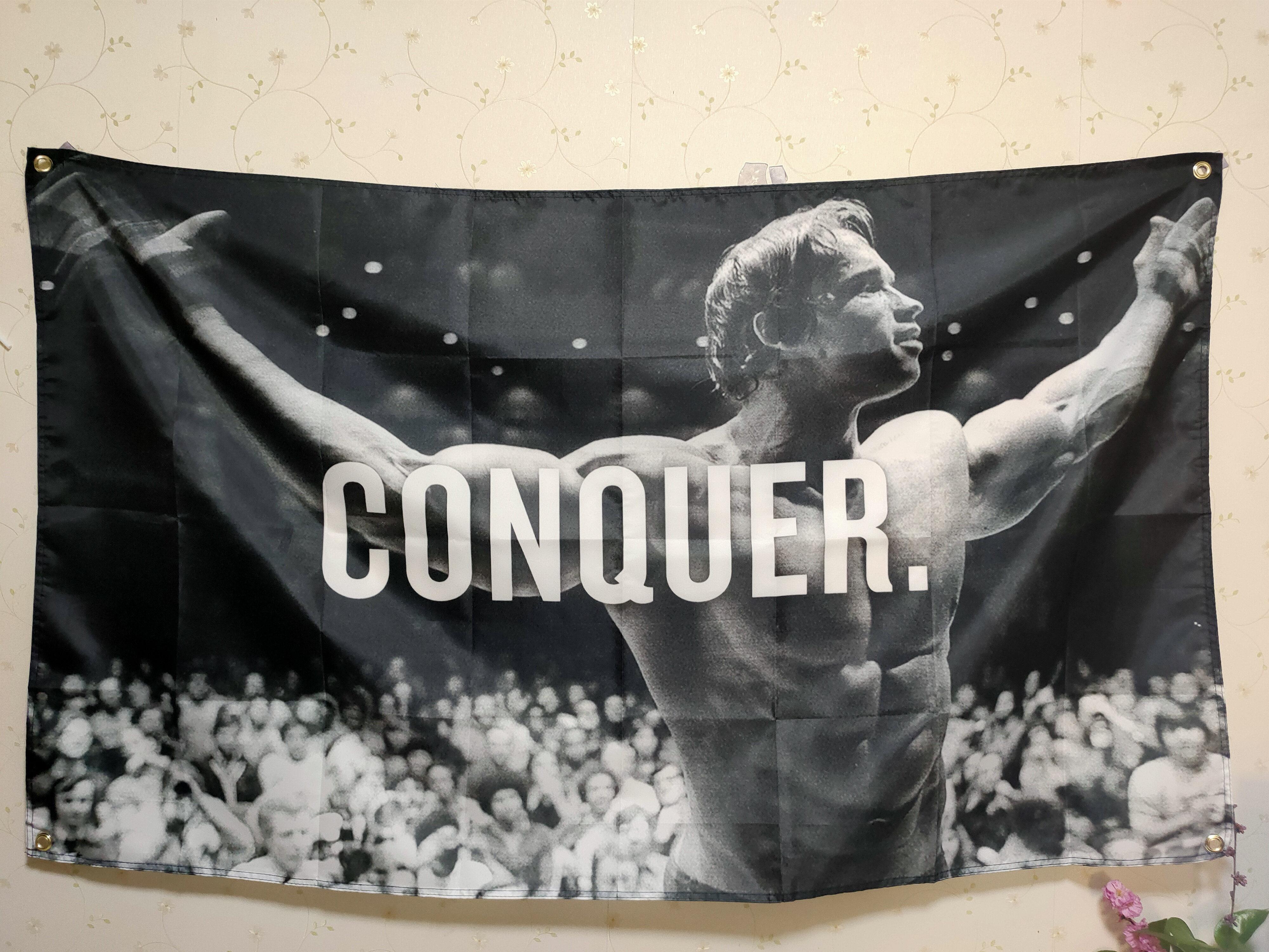Фото - Арнольд Шварценеггер завоевывает флаг тренажерного зала любого размера мотивация Бодибилдинг настенное украшение гобелен Бодибилдинг арнольд шварценеггер вспомнить все моя невероятно правдивая история