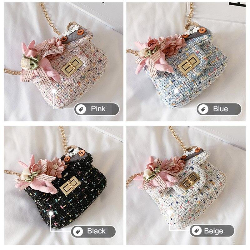1Pcs Kids Girl Flower Handbags Cotton Linen Girl Messenger Bag Mini Satchel Bag Cross body Princess Shoulder Bag Purse