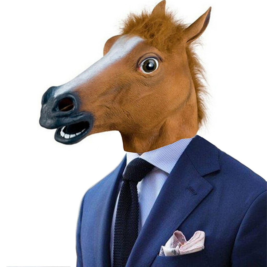 Máscara de Mascara nueva cabeza de caballo máscara de látex Prop estilo fiesta Halloween máscara Maska grozy Drop Shopping Wd4