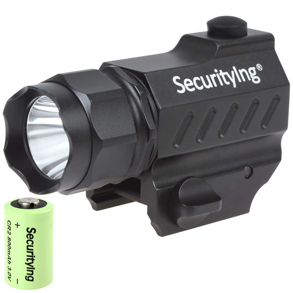 SecurityIng 5W 400 Lumens Mini XP-G R5 LED High Power Gun Mounted Tactical Flashlight with 3.0V 800mA CR2 Battery
