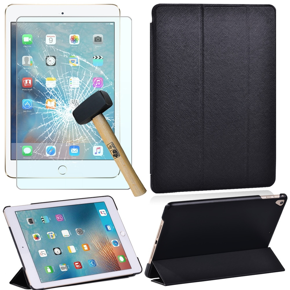Cover for Apple IPad 5th/6th/Pro 9.7/Air 1 2 Pu Leather Smart with Magnet Trifold Stand Tablet Case+Screen Protector+Stylus