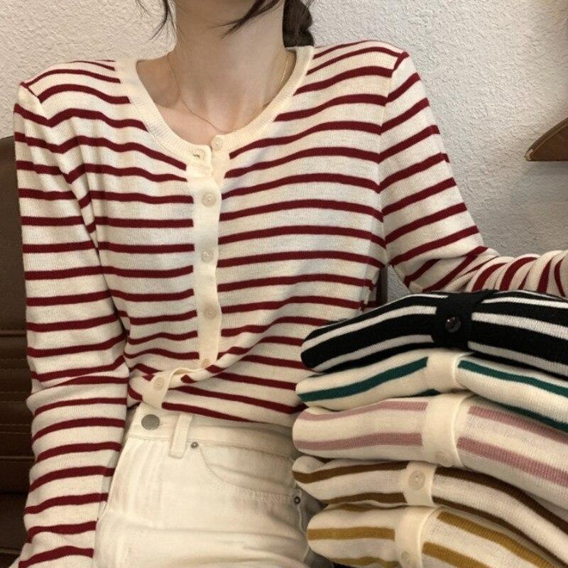 Listrado de malha cardigan feminino 2021 novo início do outono coreano chique fino camisola casaco ins manga longa topo