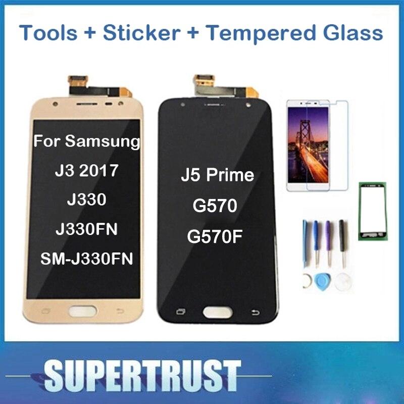 Original para Samsung Galaxy J3 2017 J330 J330FN SM-J330FN J5 Prime G570 G570F pantalla LCD con Sensor táctil digitalizador de vidrio