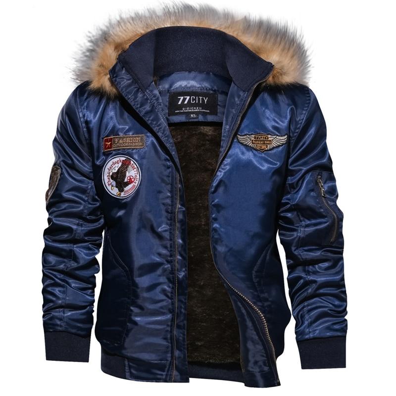 Зимняя военная куртка-бомбер, пальто для мужчин, армейская тактическая куртка ВВС, теплая шерстяная подкладка, верхняя одежда, парки с капюш...