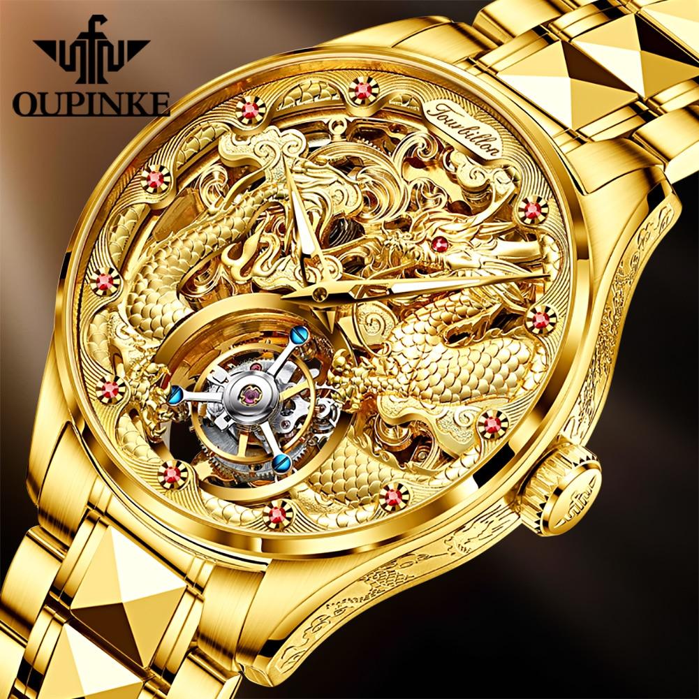 OUPINKE-ساعة توربيون ذهبية للرجال ، كرونوغراف رجالي فاخر ، هيكل عظمي من الفولاذ التنغستن ، ميكانيكية ، ياقوت مقاوم للماء